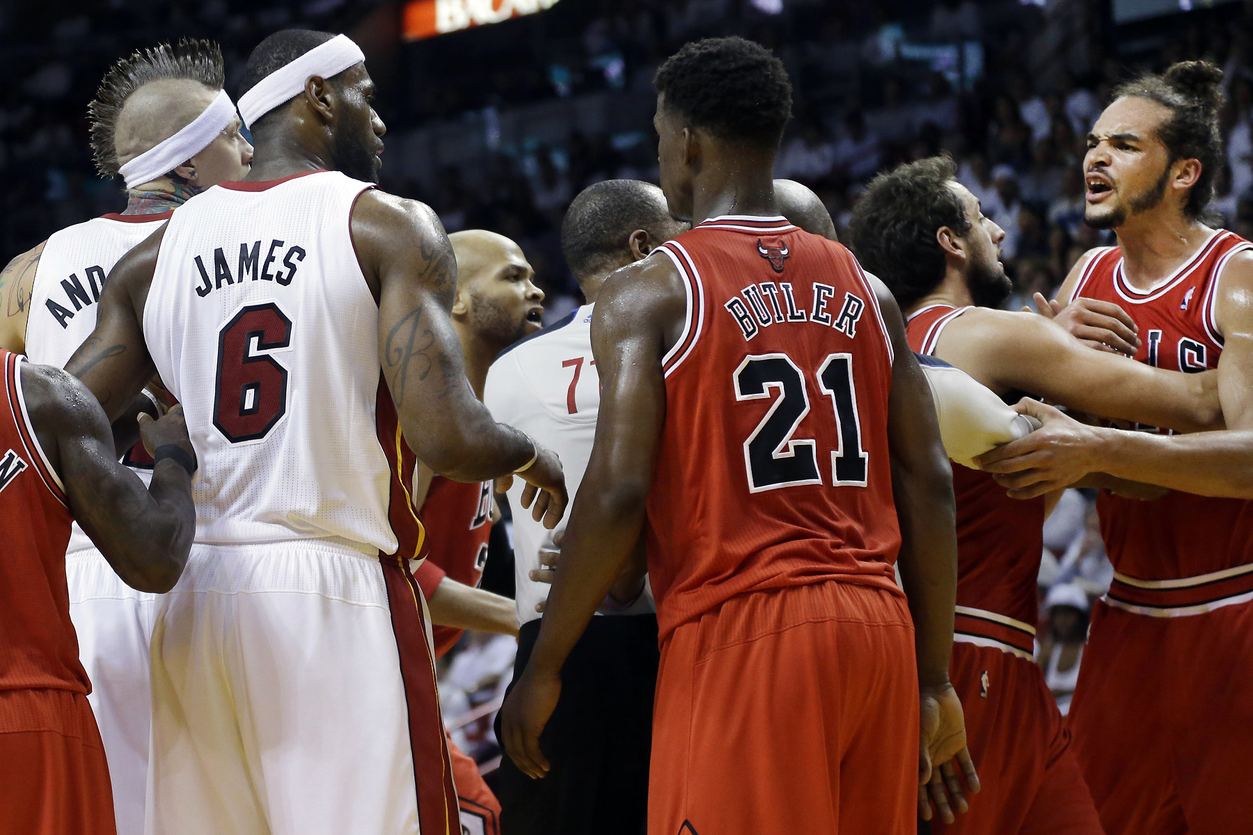 The Heat advanced past the Bulls in Round 2, but not before things got chippy.