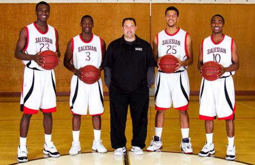 Coach Bill Mellis flanked by Bird, Mario Dunn, Jermaine Edmonds and Markel Leonard (photo by Dennis Lee)