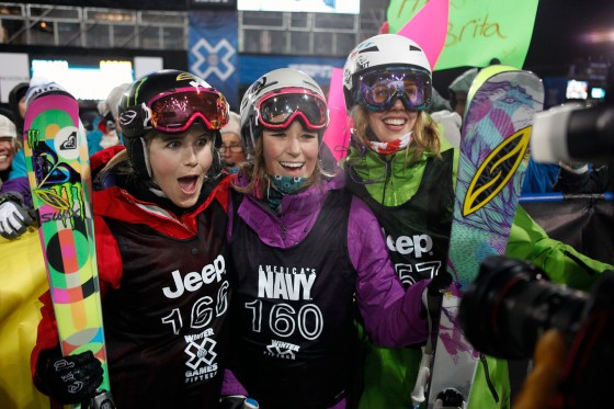 Brita Sigourney (center) celebrates after an X Games event with Sarah Burke (on Brita's right)