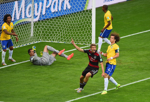 Thomas Mueller finds the back of the net vs. Brazil (photo by Jamie McDonald)