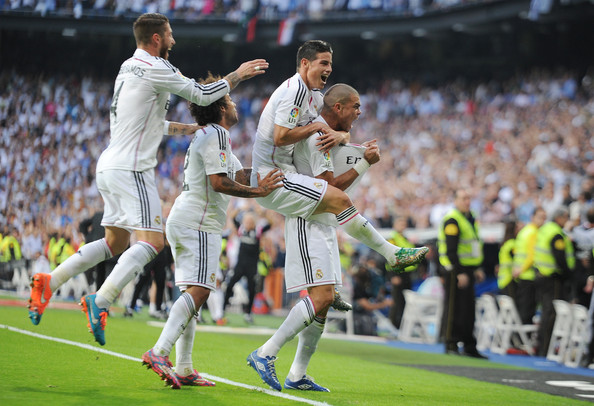 Pepe of Real Madrid CF celebrates after scoring his team's 2nd goal on Saturday... (photo by Denis Doyle)